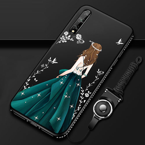 Silicone Candy Rubber Gel Dress Party Girl Soft Case Cover for Huawei Enjoy 10S Green