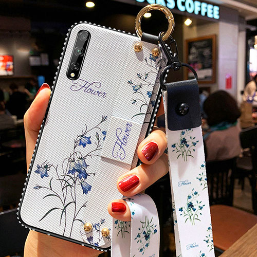 Silicone Candy Rubber Gel Flowers Soft Case Cover for Huawei Enjoy 10S White