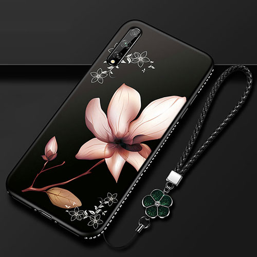 Silicone Candy Rubber Gel Flowers Soft Case Cover S01 for Huawei Y8p Brown