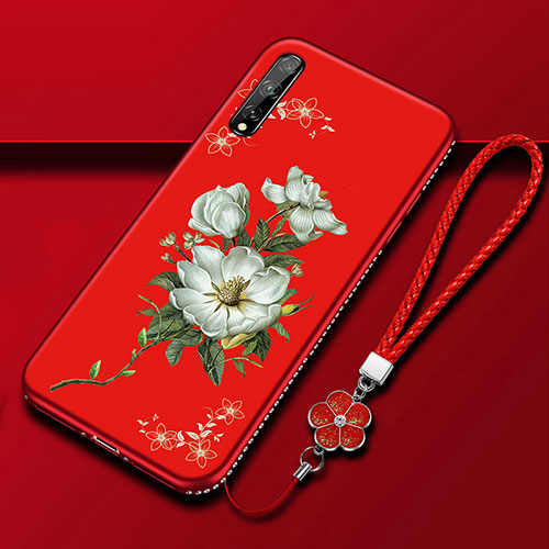 Silicone Candy Rubber Gel Flowers Soft Case Cover S01 for Huawei Y8p Red