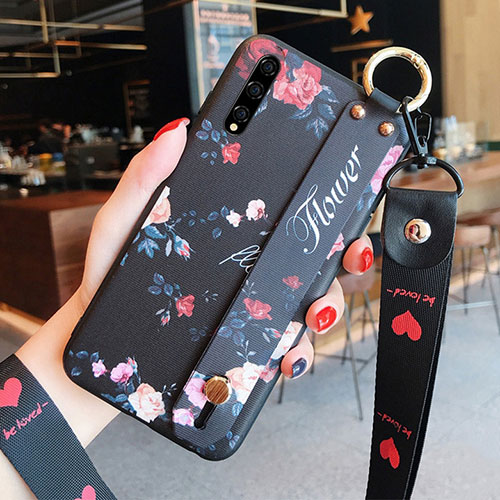 Silicone Candy Rubber Gel Flowers Soft Case Cover S02 for Huawei Enjoy 10S Black