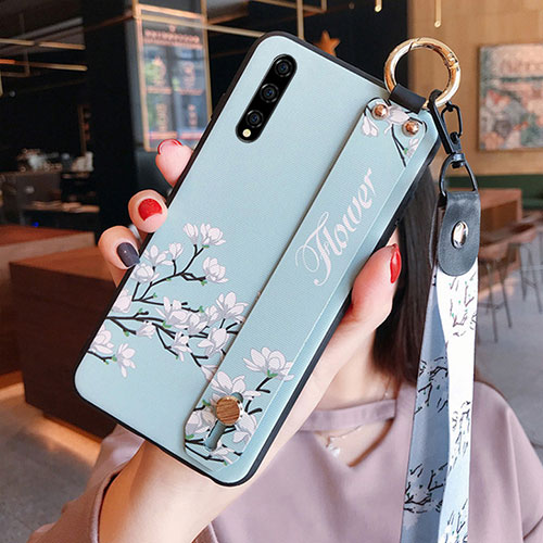 Silicone Candy Rubber Gel Flowers Soft Case Cover S02 for Huawei Enjoy 10S Sky Blue