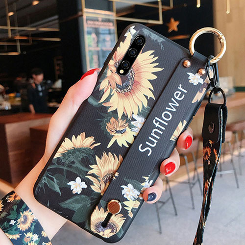 Silicone Candy Rubber Gel Flowers Soft Case Cover S02 for Huawei Enjoy 10S Yellow
