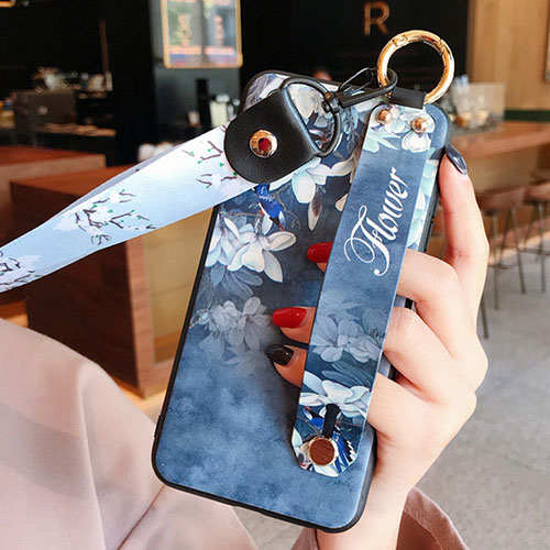 Silicone Candy Rubber Gel Flowers Soft Case Cover S02 for Huawei Y8p Blue