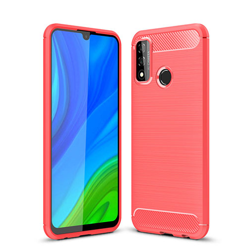 Silicone Candy Rubber TPU Line Soft Case Cover for Huawei P Smart (2020) Red