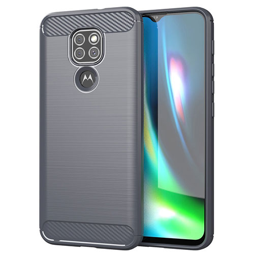 Silicone Candy Rubber TPU Line Soft Case Cover S01 for Motorola Moto G9 Play Gray