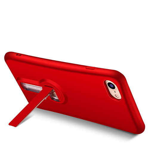 Silicone Candy Rubber TPU Soft Case with Stand S02 for Apple iPhone SE (2020) Red