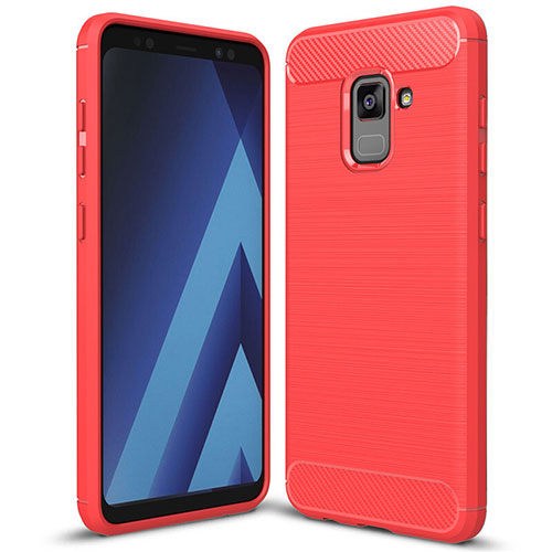 Silicone Candy Rubber TPU Twill Soft Case Cover for Samsung Galaxy A5 (2018) A530F Red