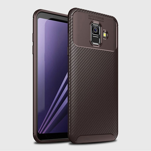Silicone Candy Rubber TPU Twill Soft Case Cover for Samsung Galaxy A6 (2018) Brown