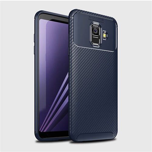 Silicone Candy Rubber TPU Twill Soft Case Cover for Samsung Galaxy A6 (2018) Dual SIM Blue