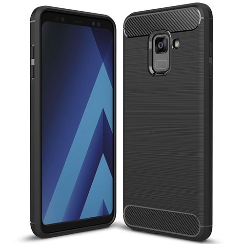 Silicone Candy Rubber TPU Twill Soft Case Cover for Samsung Galaxy A8+ A8 Plus (2018) A730F Black