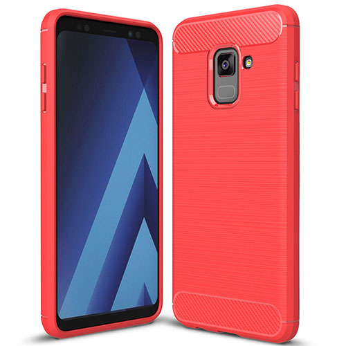 Silicone Candy Rubber TPU Twill Soft Case Cover for Samsung Galaxy A8+ A8 Plus (2018) A730F Red