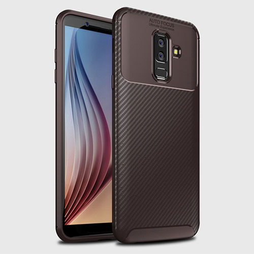 Silicone Candy Rubber TPU Twill Soft Case Cover for Samsung Galaxy A9 Star Lite Brown