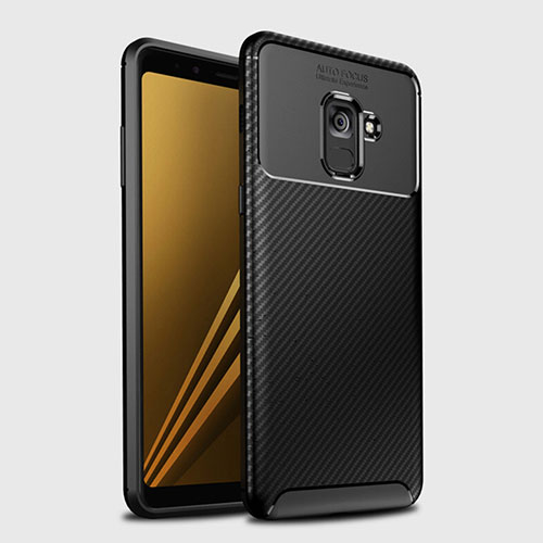 Silicone Candy Rubber TPU Twill Soft Case Cover S01 for Samsung Galaxy A8+ A8 Plus (2018) Duos A730F Black