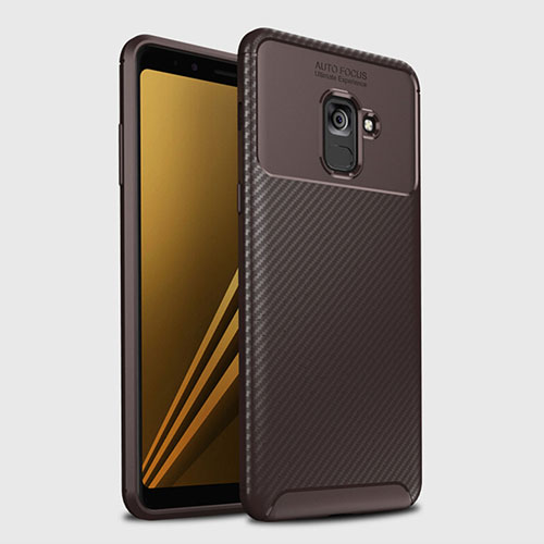 Silicone Candy Rubber TPU Twill Soft Case Cover S01 for Samsung Galaxy A8+ A8 Plus (2018) Duos A730F Brown