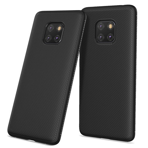 Silicone Candy Rubber TPU Twill Soft Case for Huawei Mate 20 Pro Black