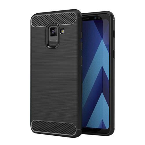 Silicone Candy Rubber TPU Twill Soft Case for Samsung Galaxy A5 (2018) A530F Black