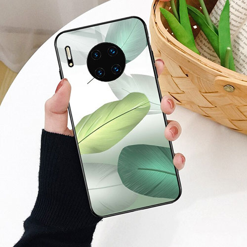 Silicone Frame Fashionable Pattern Mirror Case Cover S02 for Huawei Mate 30 Pro 5G Green