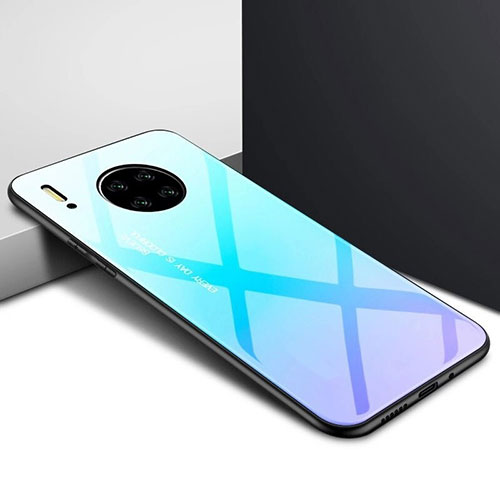 Silicone Frame Mirror Case Cover for Huawei Mate 30 Pro 5G Sky Blue