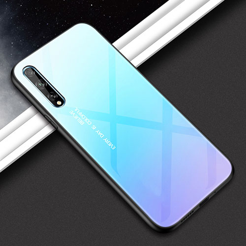 Silicone Frame Mirror Case Cover for Huawei Y8p Sky Blue