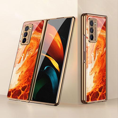 Silicone Frame Mirror Case Cover for Samsung Galaxy Z Fold2 5G Orange