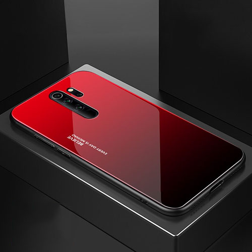 Silicone Frame Mirror Case Cover M02 for Xiaomi Redmi Note 8 Pro Red