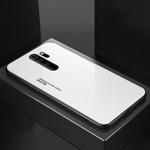 Silicone Frame Mirror Case Cover M02 for Xiaomi Redmi Note 8 Pro White