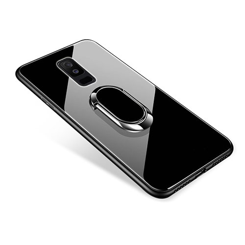 Silicone Frame Mirror Case Cover with Finger Ring Stand for Samsung Galaxy A6 Plus Black