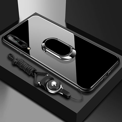 Silicone Frame Mirror Case Cover with Magnetic Finger Ring Stand for Huawei Enjoy 10S Black
