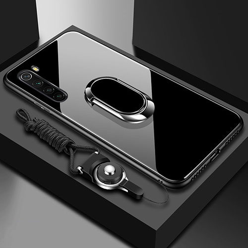 Silicone Frame Mirror Case Cover with Magnetic Finger Ring Stand for Xiaomi Redmi Note 8 Black