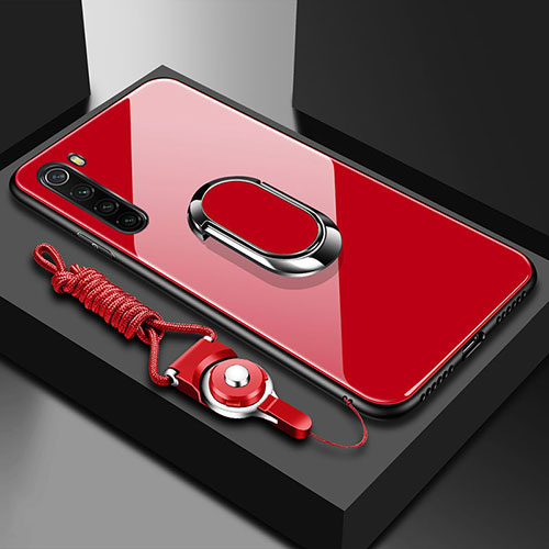 Silicone Frame Mirror Case Cover with Magnetic Finger Ring Stand for Xiaomi Redmi Note 8 Red
