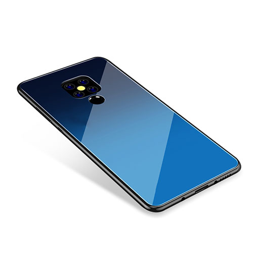 Silicone Frame Mirror Rainbow Gradient Case Cover for Huawei Mate 20 Blue
