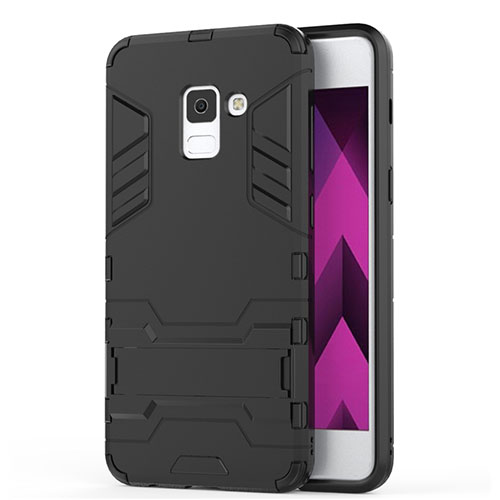 Silicone Matte Finish and Plastic Back Case with Stand for Samsung Galaxy A5 (2018) A530F Black