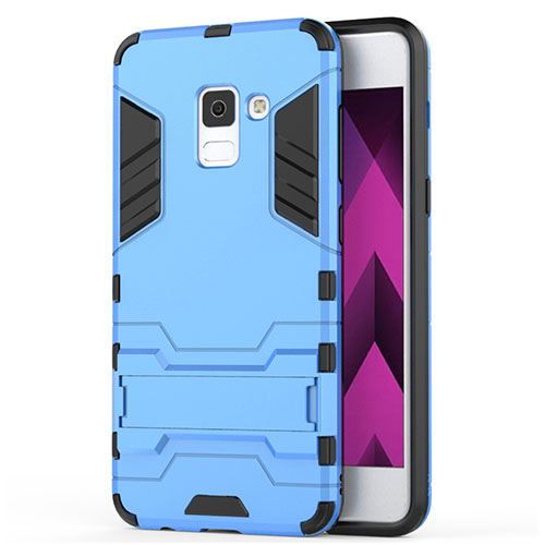 Silicone Matte Finish and Plastic Back Case with Stand for Samsung Galaxy A5 (2018) A530F Blue