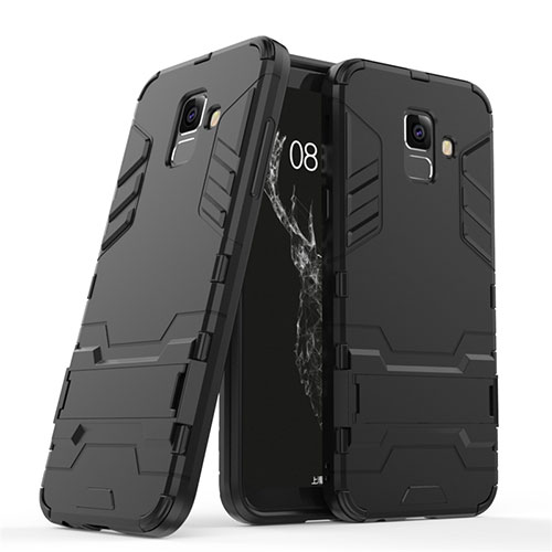 Silicone Matte Finish and Plastic Back Case with Stand for Samsung Galaxy A6 (2018) Dual SIM Black