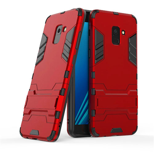 Silicone Matte Finish and Plastic Back Case with Stand for Samsung Galaxy A8+ A8 Plus (2018) A730F Red