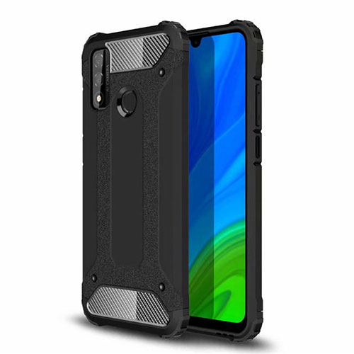 Silicone Matte Finish and Plastic Back Cover Case for Huawei P Smart (2020) Black