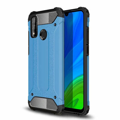 Silicone Matte Finish and Plastic Back Cover Case for Huawei P Smart (2020) Sky Blue