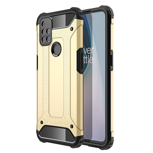 Silicone Matte Finish and Plastic Back Cover Case for OnePlus Nord N10 5G Gold