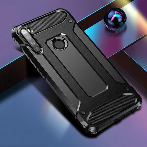 Silicone Matte Finish and Plastic Back Cover Case for Xiaomi Redmi Note 8 Black
