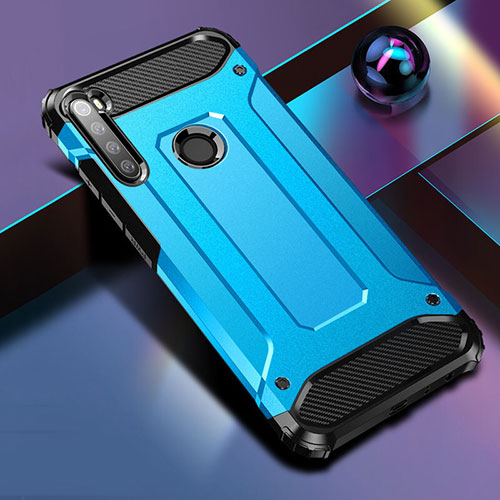 Silicone Matte Finish and Plastic Back Cover Case for Xiaomi Redmi Note 8 Blue