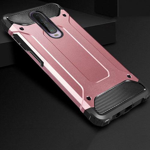 Silicone Matte Finish and Plastic Back Cover Case U01 for Xiaomi Redmi K30 5G Rose Gold
