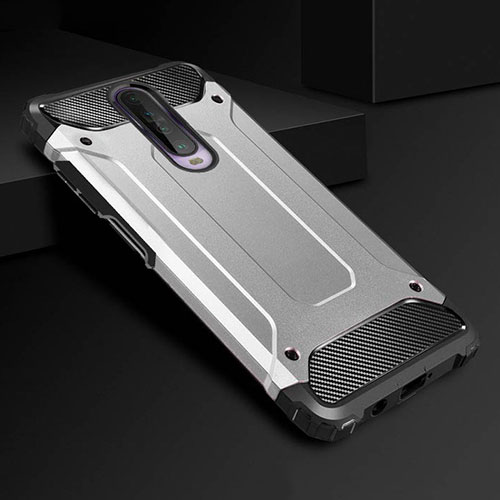 Silicone Matte Finish and Plastic Back Cover Case U01 for Xiaomi Redmi K30 5G Silver