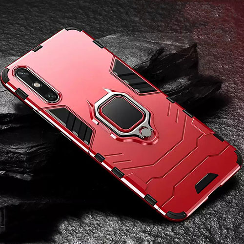 Silicone Matte Finish and Plastic Back Cover Case with Magnetic Finger Ring Stand for Huawei Enjoy 10e Red