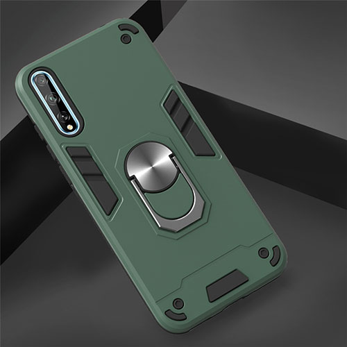 Silicone Matte Finish and Plastic Back Cover Case with Magnetic Finger Ring Stand for Huawei Enjoy 10S Green
