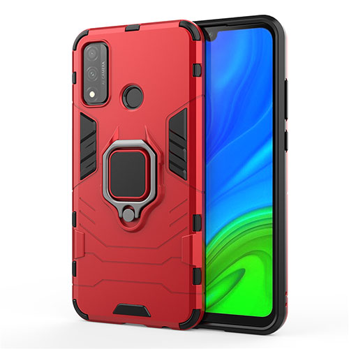 Silicone Matte Finish and Plastic Back Cover Case with Magnetic Finger Ring Stand for Huawei P Smart (2020) Red