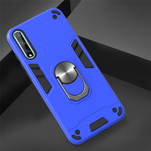 Silicone Matte Finish and Plastic Back Cover Case with Magnetic Finger Ring Stand for Huawei Y8p Blue