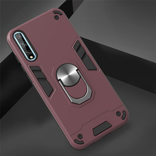 Silicone Matte Finish and Plastic Back Cover Case with Magnetic Finger Ring Stand for Huawei Y8p Red Wine