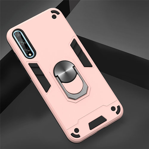 Silicone Matte Finish and Plastic Back Cover Case with Magnetic Finger Ring Stand for Huawei Y8p Rose Gold