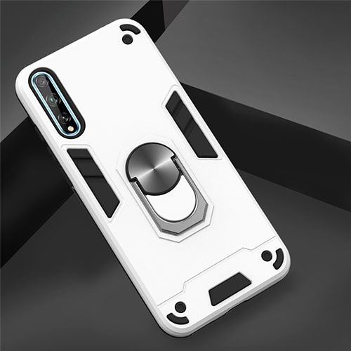 Silicone Matte Finish and Plastic Back Cover Case with Magnetic Finger Ring Stand for Huawei Y8p White